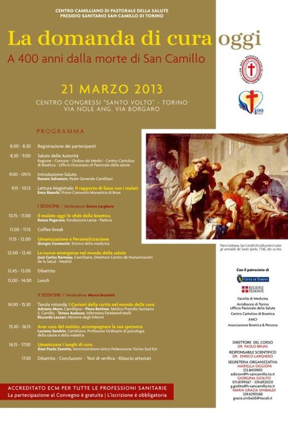 «La domanda di cura oggi. A 400 anni dalla morte di San Camillo»: giornata di studi