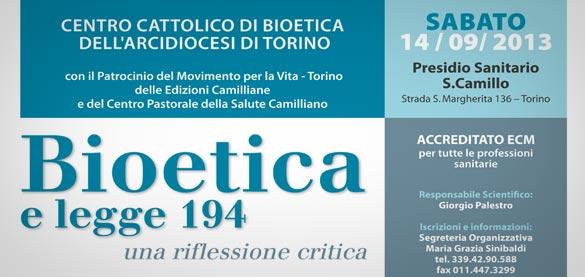 """""""Bioetica e legge 194: una riflessione critica"""": convegno al San Camillo di Torino"""