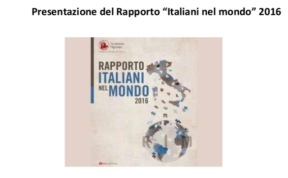 Rapporto 2016: Italiani nel mondo