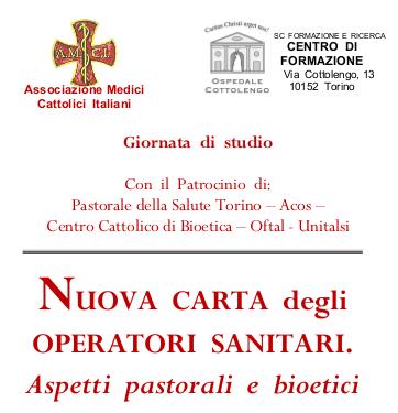 Nuova Carta degli Operatori sanitari. Aspetti pastorali e bioetici