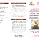 Convegno «Nuova Carta degli Operatori sanitari. Aspetti pastorali e bioetici», 20 maggio 2017, Auditorium, Cottolengo, Torino, pieghevole prima parte