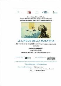 Convegno Le lingue della malattia Residenza Richelmy locandina parte prima