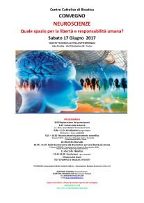 """Programma del Convegno """"Neuroscienze"""" , Centro Cattolico di Bioetica,  Facoltà Teologica di Torino, 17 giugno 2017"""