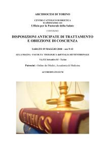 Convegno Disposizioni anticipate di trattamento  e obiezione di coscienza, Facoltà Teologica di Torino, 19 maggio 2018, programma parte 1