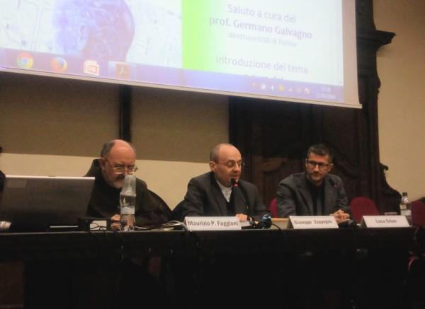 Da sinistra i professori M.P. Faggioni, Giuseppe Zeppegno e Luca Grion, Giornata di Studio ISSR, Facoltà Teologica di Torino, 12 aprile 2018