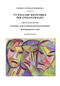 Convegno, Un Welfare sostenibile per  anziani fragili, Facoltà Teologica Torino, programma parte 1