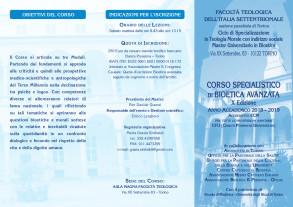 Corso Specialistico BIOETICA AVANZATA_2018 - Facoltà Teologica Torino_depliant prima parte