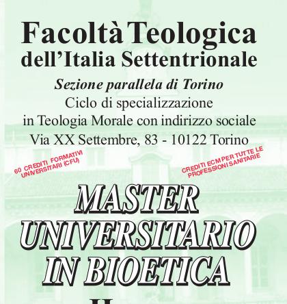 Master universitario in Bioetica alla Facoltà Teologica di Torino