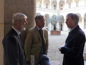 Da sinistra Piero BIANUCCI, Alberto RICCADONNA ed Enrico LARGHERO ©Bioetica News Torino