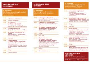 Programma del Congresso Internazionale La ricchezza degli anni, 29-31 gennaio 2020 Roma programma