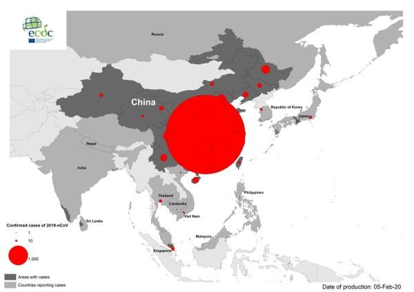Fig. I. Distribuzione geografica della situazione di diffusione del nuovo coronavirus nel mondo al 5 febbraio 2020 - Fonte Edcd.