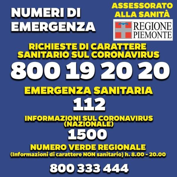 poster Regione Piemonte numeri utili coronavirus