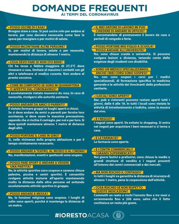 Risposte a chiarimenti su misure di contenimento da Covid -19 del Governo in vigore dal 10 marzo al  3 aprile 2020