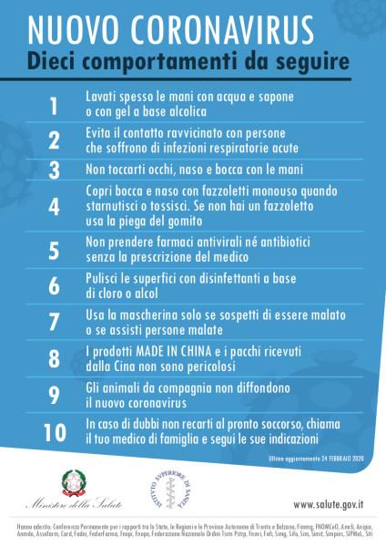 Raccomandazione Covid 19 Fonte Ministero salute febbraio 2020