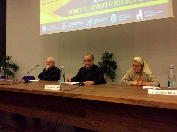 Mons. Cesare Nosiglia, don Marco Brunetti e sr Silvia Riva, convegno Santo Volto 2-24 maggio 2015