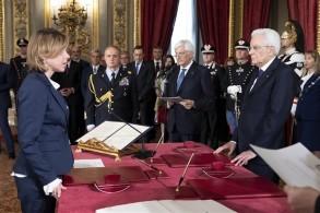 Alla cerimonia di giuramento al Quirinale il presidente Sergio Mattarella con il Ministro della Salute Giulia Grillo, 1.06.2018